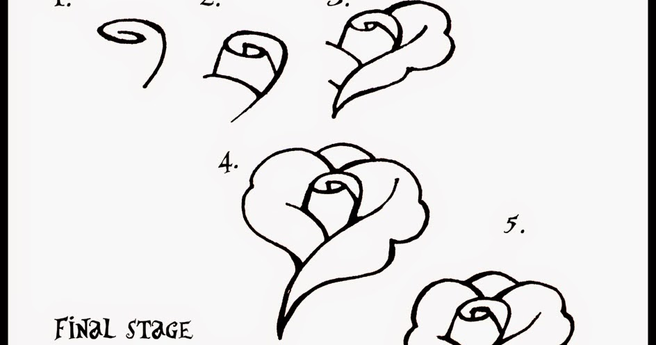 how to draw a rose with easy steps - Learn To Draw And Paint