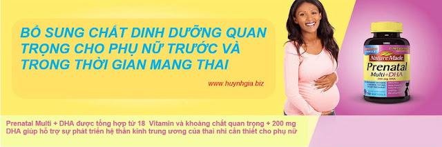 Vitamin tổng hợp cho bà bầu Nature Made Prenatal Multi + DHA của Mỹ www.huynhgia.biz