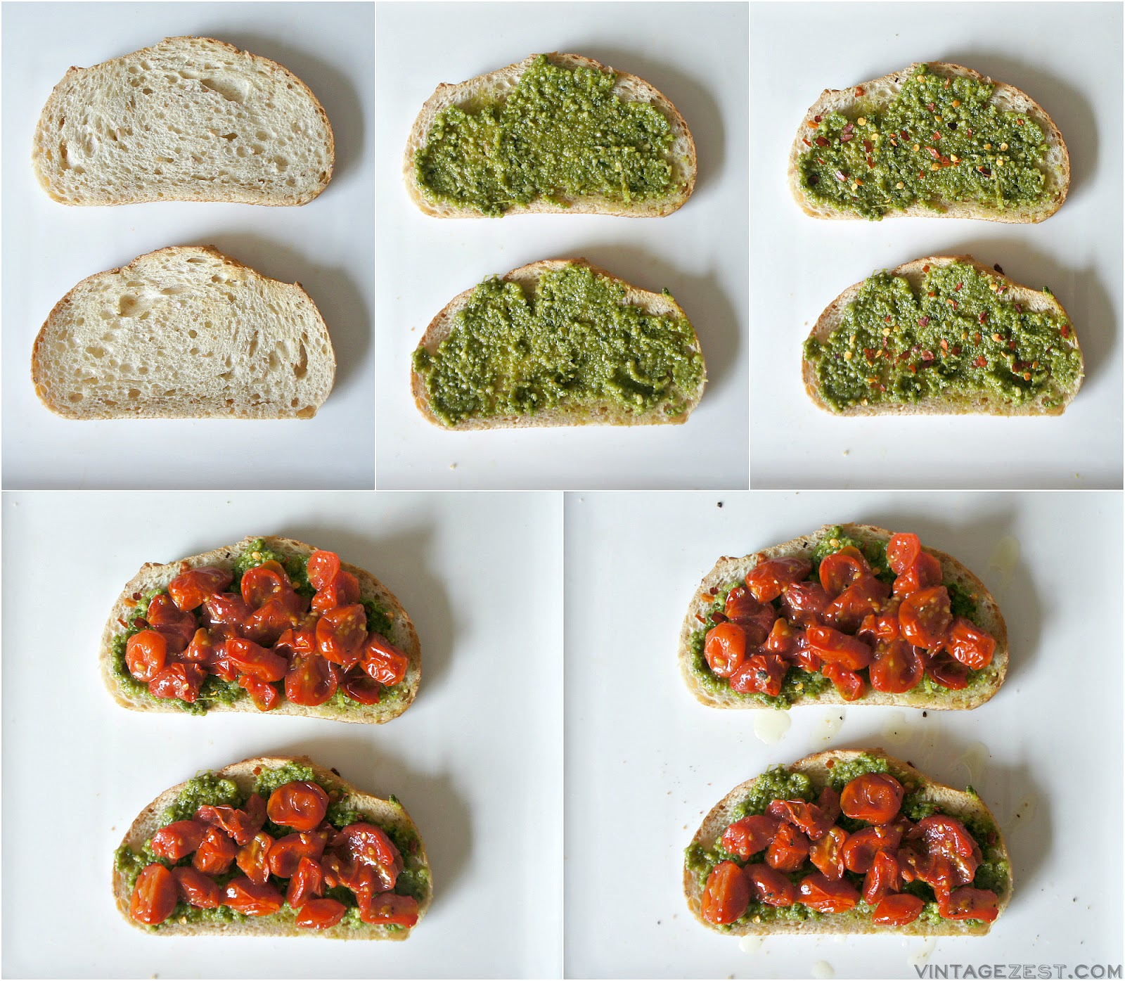 Roasted Tomato & Pesto Toast recipe on Diane's Vintage Zest!