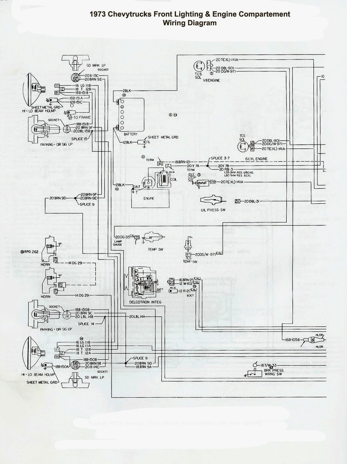 1978 Chevy Trucks Front Lighting & Engine Compartement Wiring Diagram