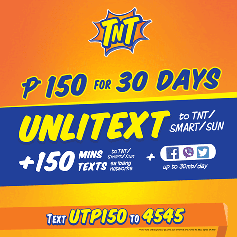 Talk N Text UTP150 Unli Text to Smart, Sun and TNT for 1 Month Promo