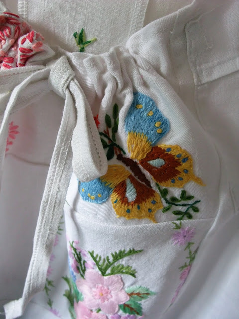 embroidered vintage butterfly motif into camisole top by karen vallerius