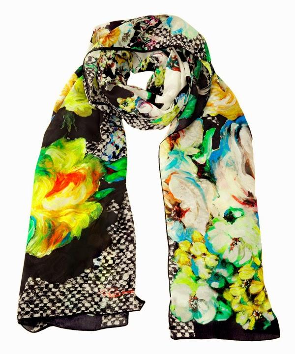 scarf, printed scarf, roberto cavalli, floral prints, floral scarf, silk scarf, scarf collection