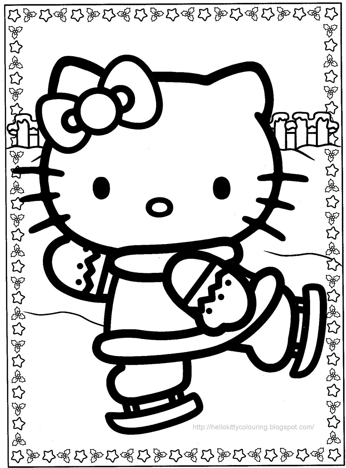 a coloring pages of hello kitty | Hello Kitty Christmas Coloring Pages #1 | Hello Kitty Forever