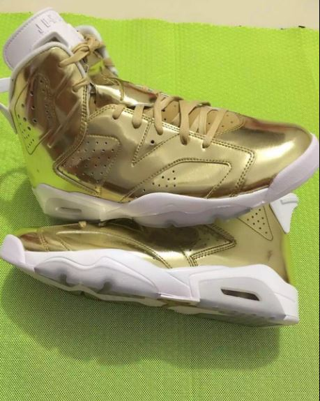9f5b4e4edf14 Here is a look via ZSZ at the Air Jordan Retro 6 Pinnacle Metallic Gold White  Sneaker which is rumored to release October 2016