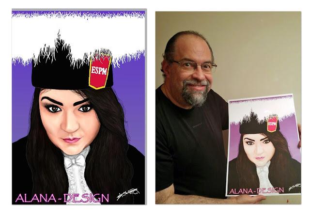 Pintura digital - Retrato de formatura - Quadro presença
