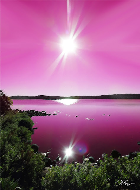Art Print Lake Purple Sky