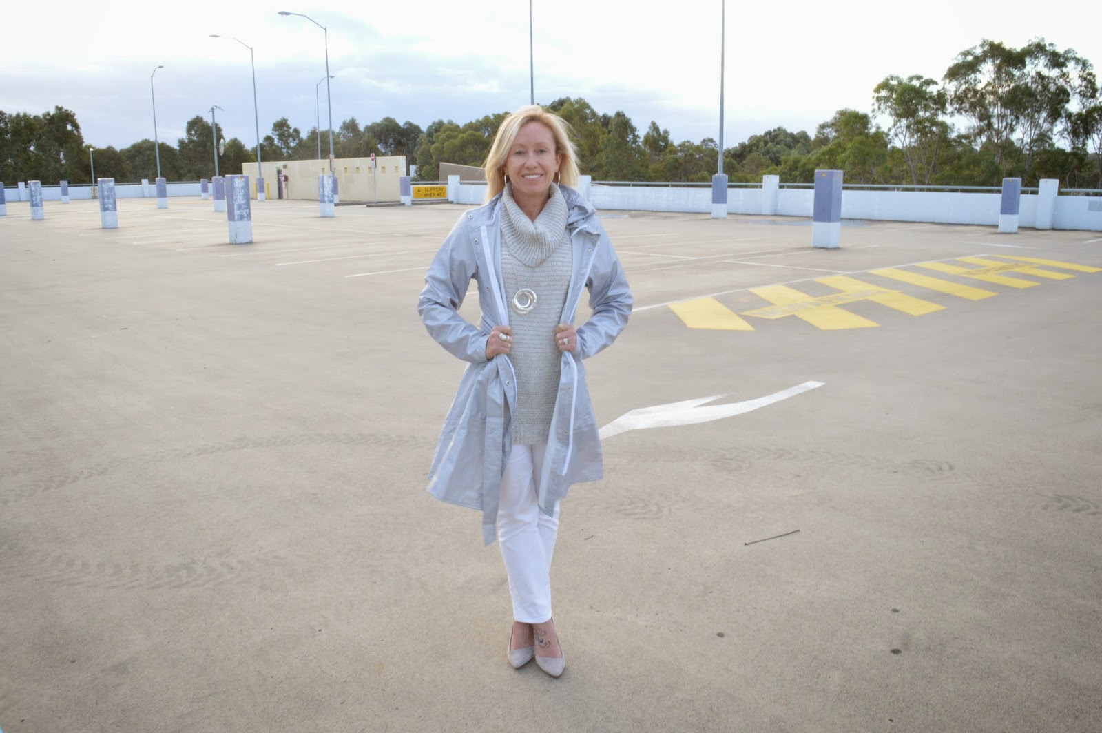 white pants, grey sweater, grey suede pumps, silver coat,