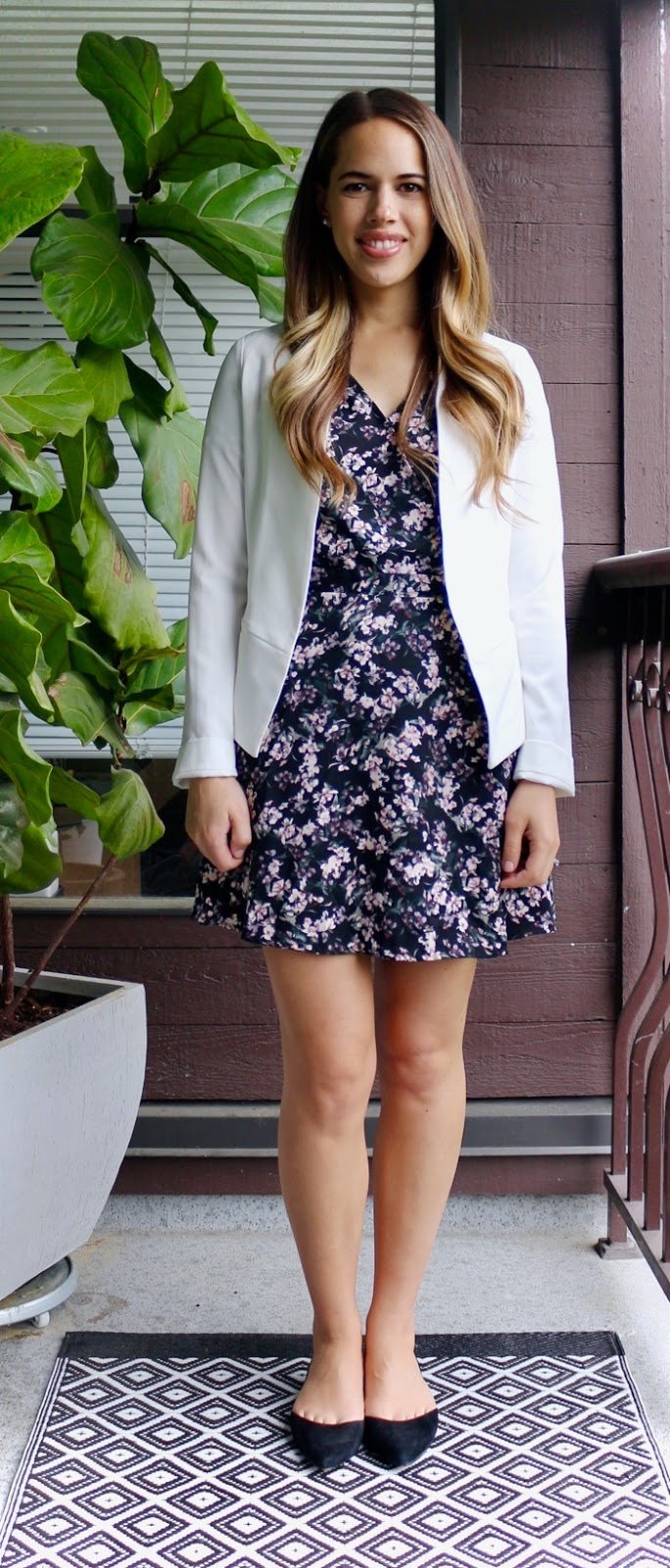 Jules in Flats - Floral Wrap Dress with White Blazer -