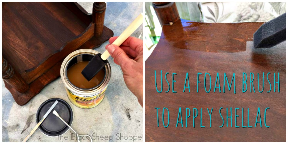 Use a foam brush to apply shellac.