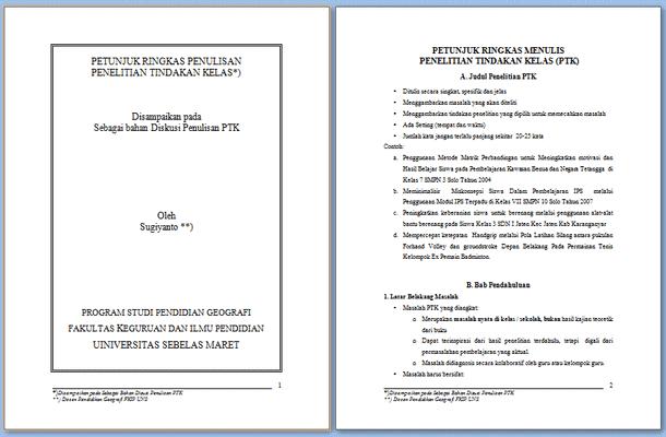 Petunjuk Penulisan PTK (Penelitian Tindakan Kelas) dan Contoh PTK SD
