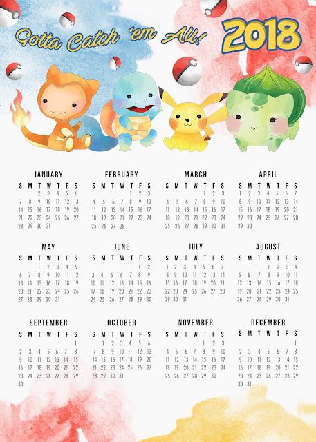 Calendario de Pokemon 2018 para Imprimir Gratis.