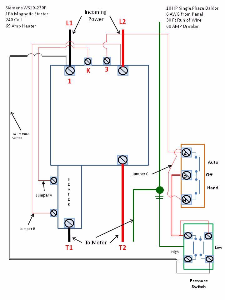 wiring diagram of single phase motor starter  electrical