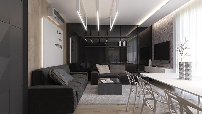 siyah koltuklu oturma odası dekorasyonu