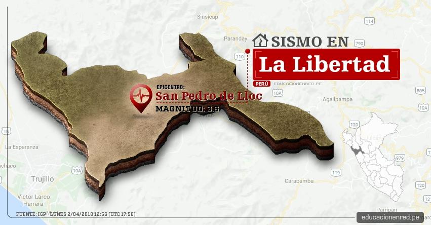Temblor en La Libertad de magnitud 3.6 (Hoy Lunes 2 Abril 2018) Sismo EPICENTRO San Pedro de Lloc - Pacasmayo - IGP - www.igp.gob.pe