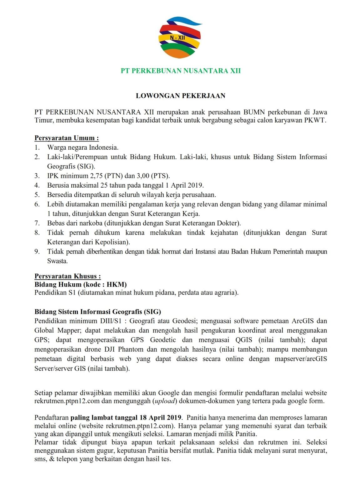 Lowongan Kerja Pt Perkebunan Nusantara Xii Rekrutmen Dan Lowongan Kerja Bulan Februari 2021
