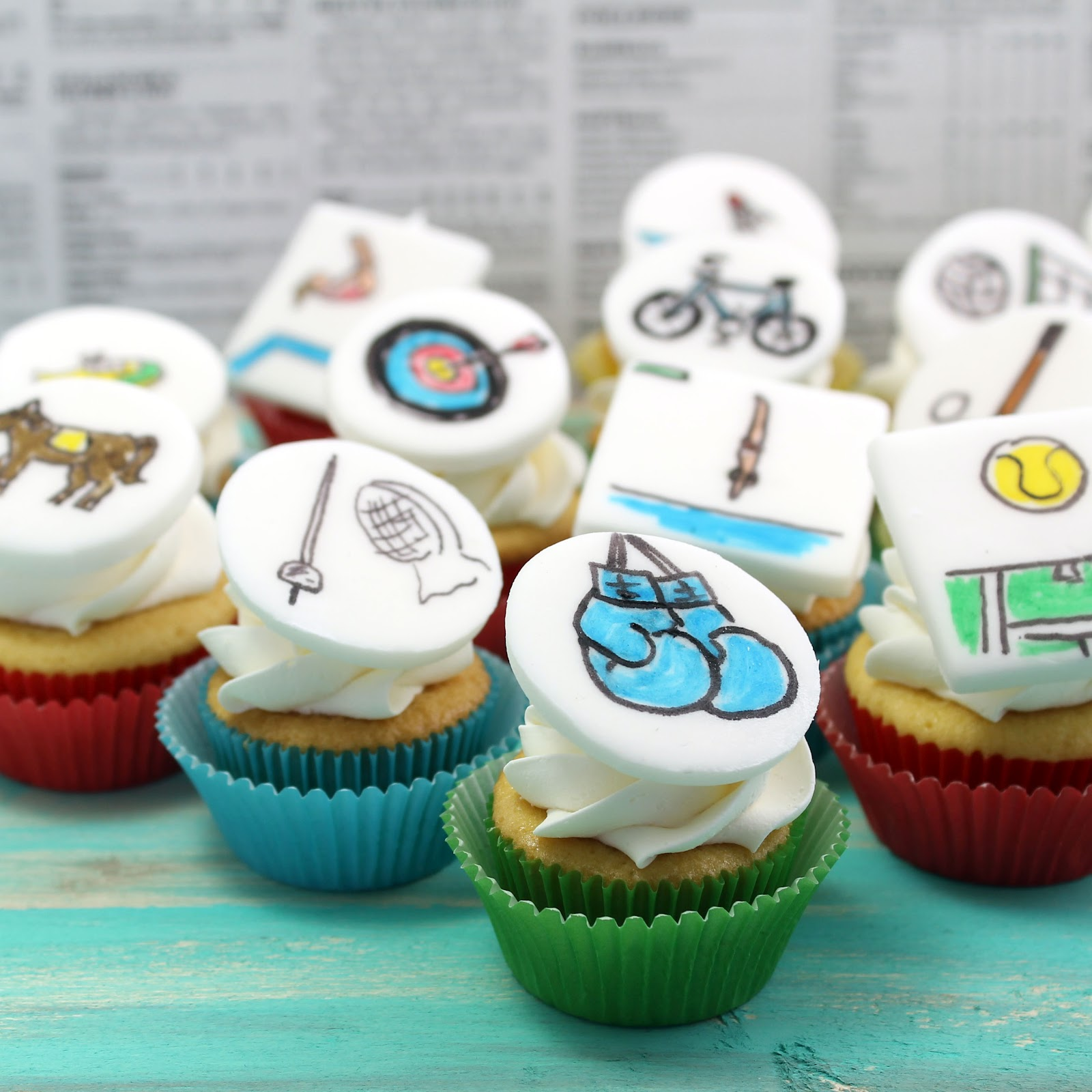Olympic Sports Cupcakes Recipe - via BirdsParty.com