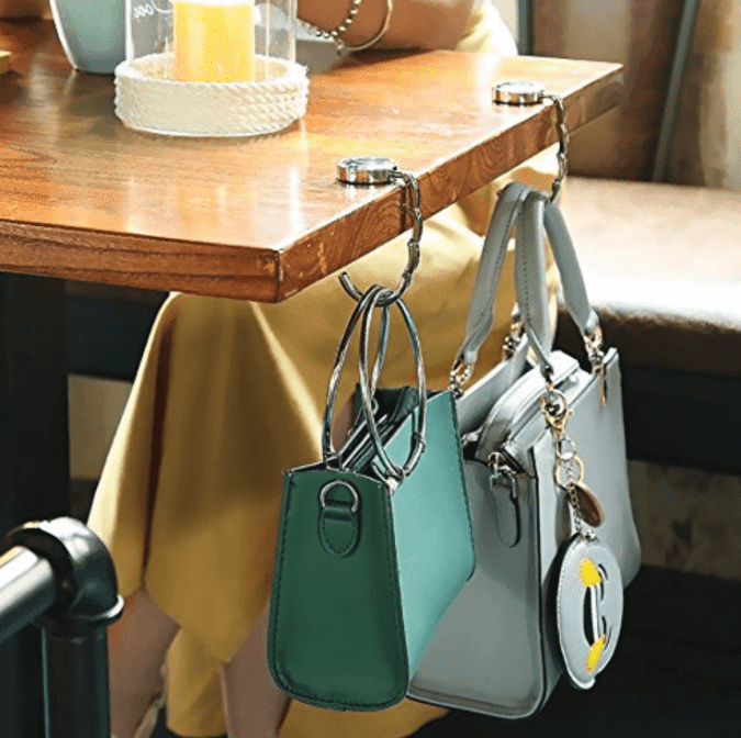 36 Genius Yet Inexpensive Products That Can Save Lives - This Foldable Purse Hook Will Keep Your Bag off the Ground