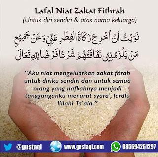Niat dan Lafadz Zakat Fitrah