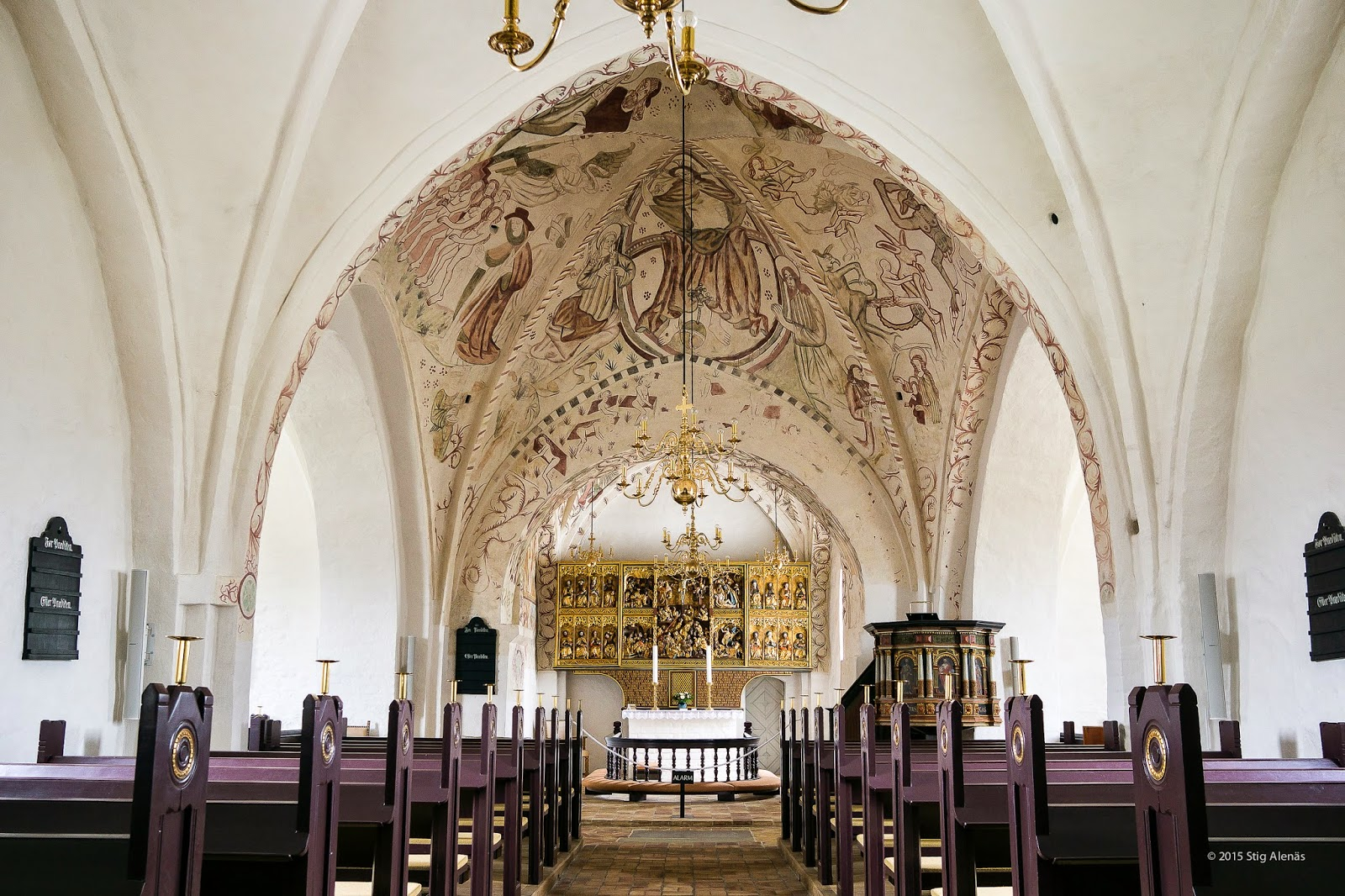 altar, architecture, building, christianity, church, denmark, editorial, frescoes, inside, interior, lutheran, religion, sanderum, scandinavian, white, worship