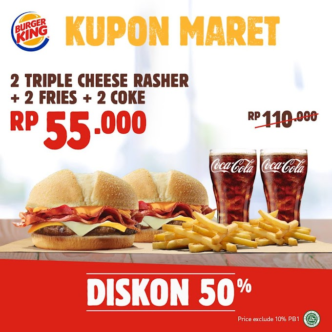 Triple Cheese Rasher, Kupon Maret Burger King