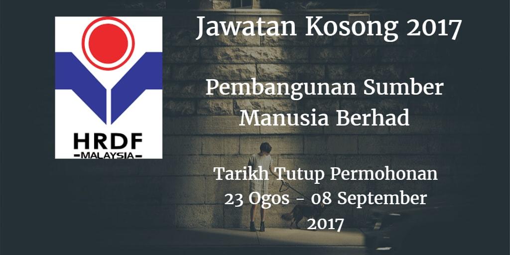 Jawatan Kosong HRDF 23 Ogos - 08 September 2017