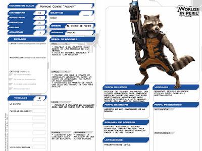 Worlds in Peril: Hojas de personaje de Los Guardianes de la Galaxia