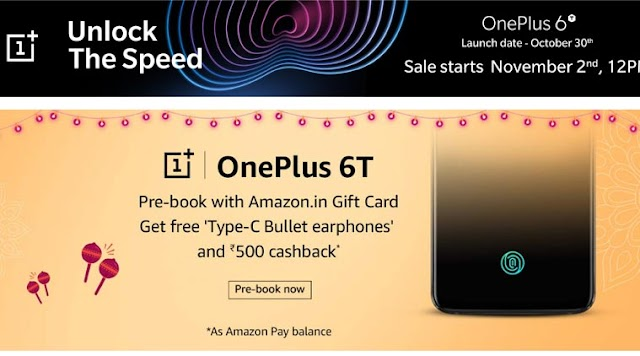 Amazon offers live webpages for oneplus 6T pre-booking, with these offers