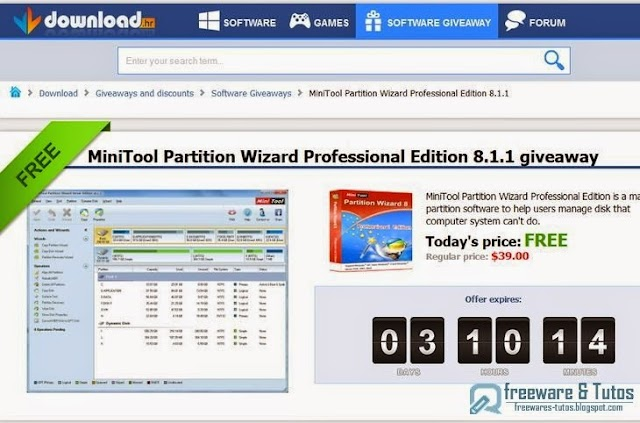 Offre promotionnelle : MiniTool Partition Wizard Professional Edition gratuit !