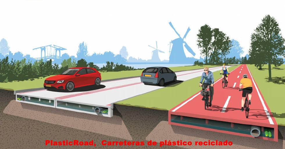 Carreteras de plástico reciclado