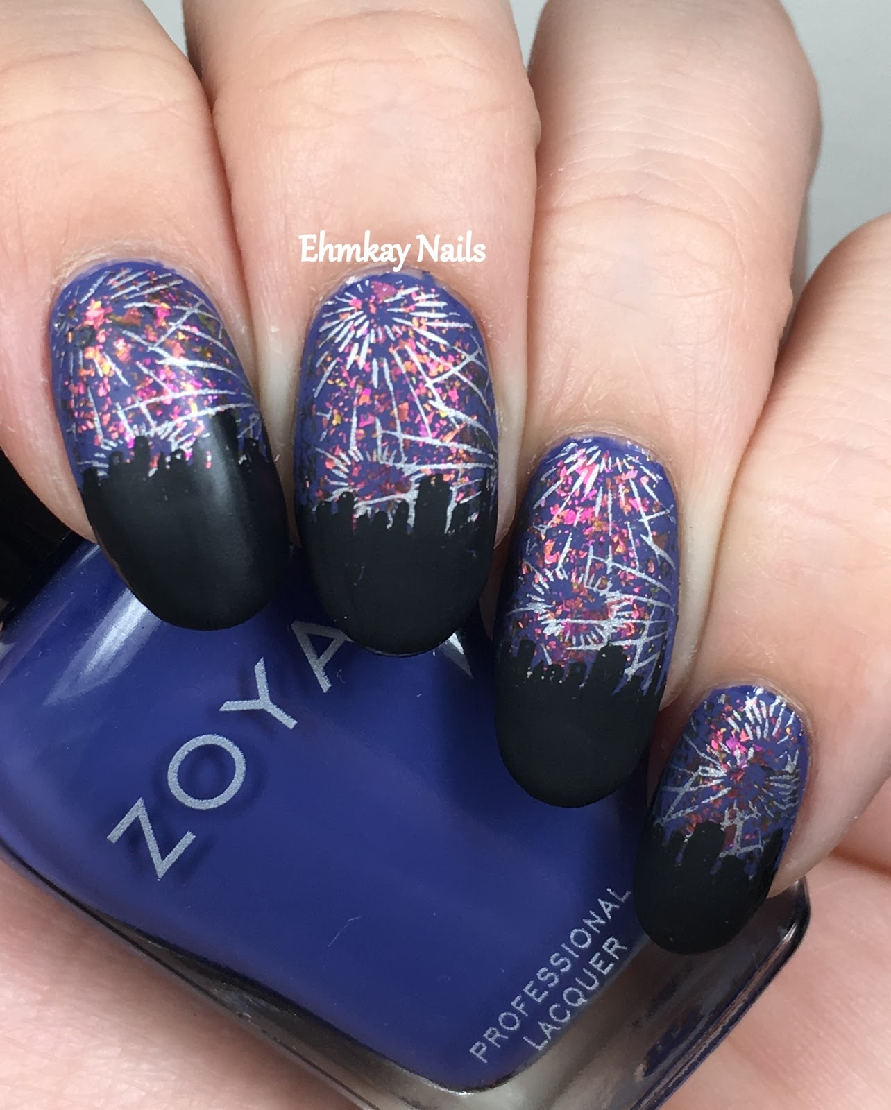 Ehmkay Nails: Winter Nail Art Challenge: Fireworks Over