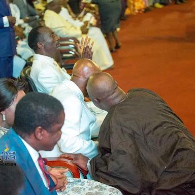 Dino Melaye Prostrates for Bishop Oyedepo