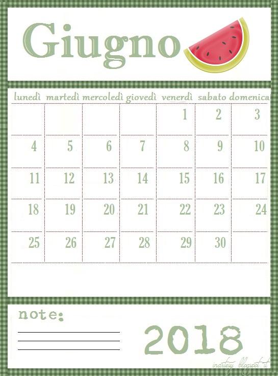 Calendario Mese Giugno.Calendario Stampabile Mese Giugno 2018 Inartesy