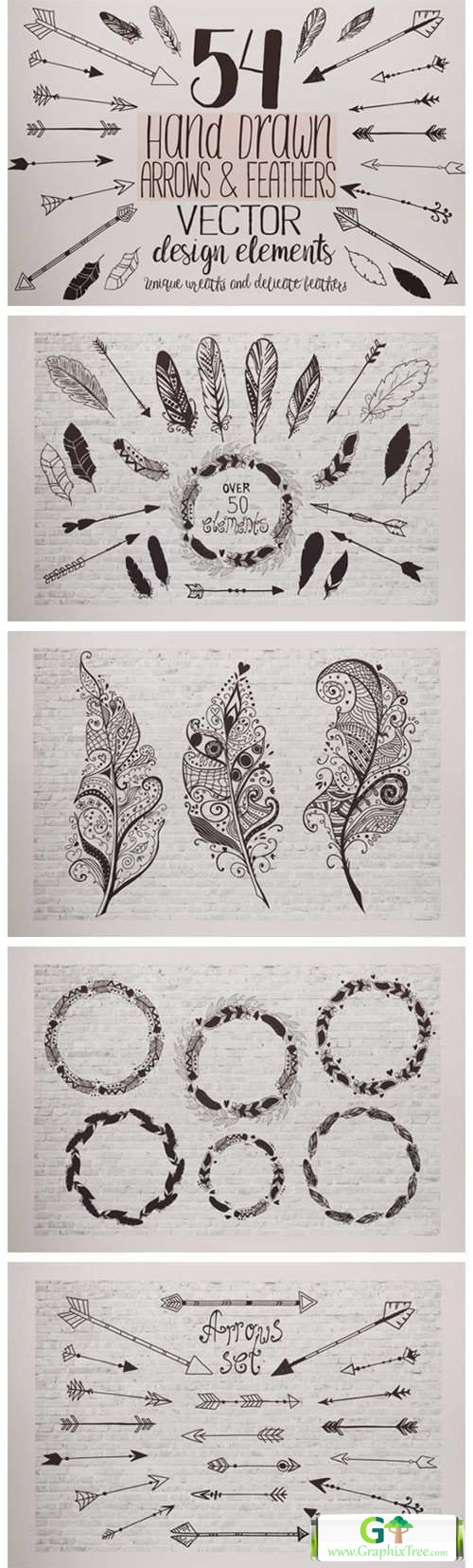 Feathers and Arrows Clipart Set