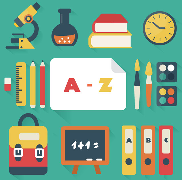 18_models_of_school_supplies_design_vectors