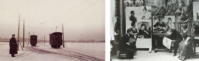 Left: Trams ride on the ice of Newa river, Saint-Petersburg, end of 19th or just the beginning of 20tn century. Photo from the collection of Hermitage museum, cca. 1900. Right: Ilya Repin reads the news about Leo Tolstoy death. Present Korney Chukovsky and Nordman-Severova (Repin's wife). November 1910, Kuokkala