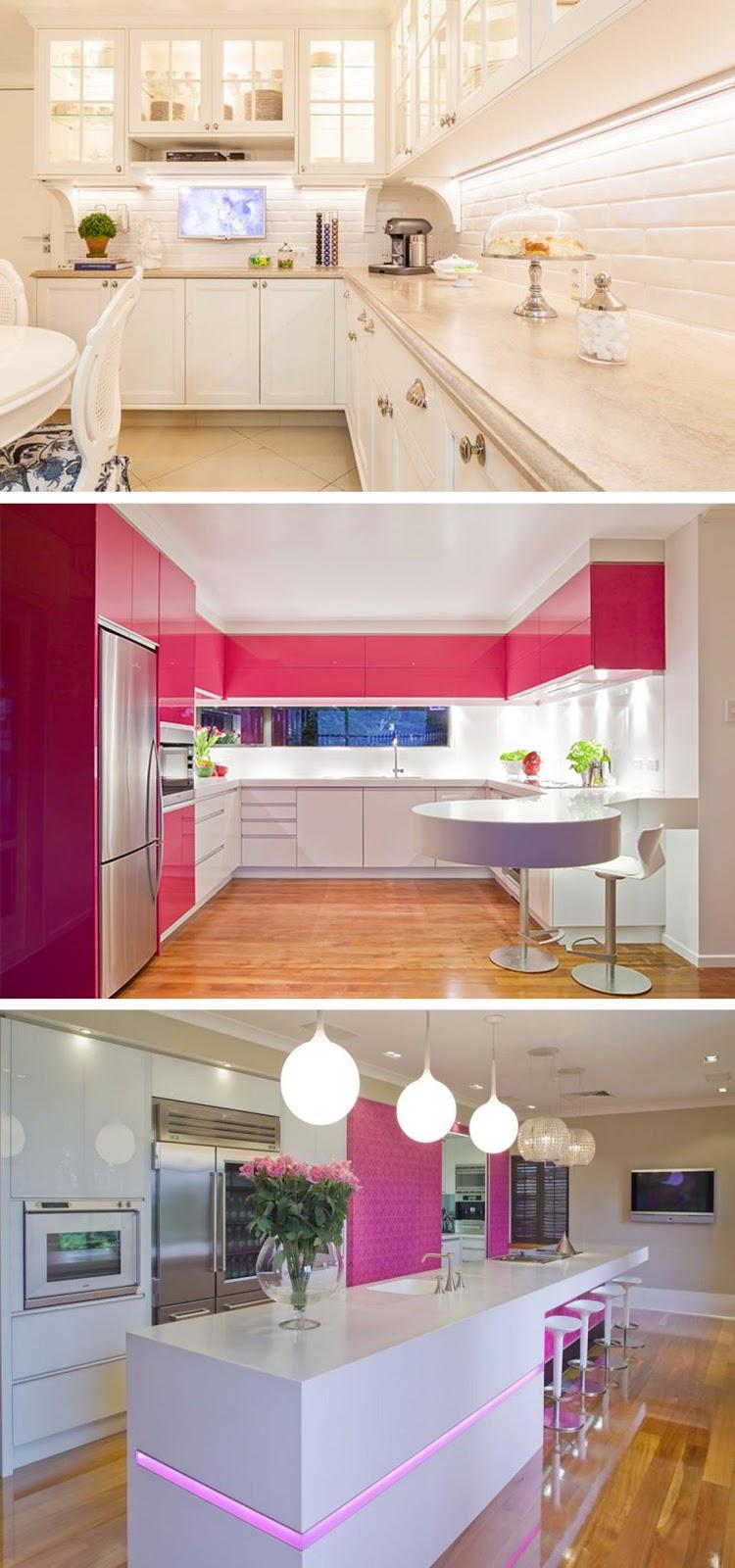 decoração cozinha clean e rosa
