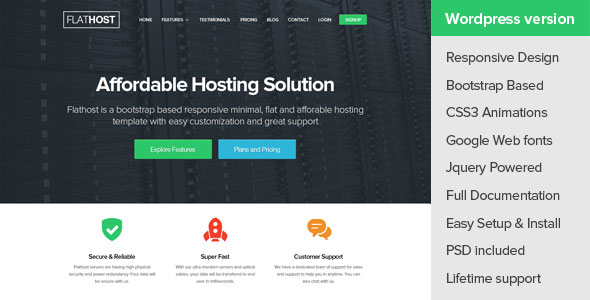 Free Download FlatHost WordPress Hosting Theme + WHMCS