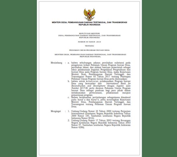 Pedoman Umum Program Inovasi Desa Tahun 2018