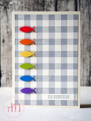 Stampin' Up! rosa Mädchen Kulmbach: Konfirmations- und Kommunionskarten mit Regenbogenfischen und Buffalo Check
