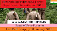Mizoram Environment & Forest Department Recruitment 2018 – Forester