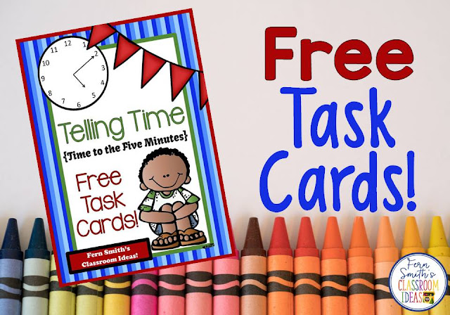 Free Time to the Five Minutes Task Cards, Recording Sheet and Answer Key at TeachersPayTeachers. {Freebie Friday!}