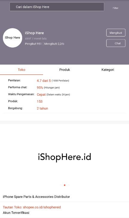 Profile Toko Aksesories Handphone iShop Here di Shopee.