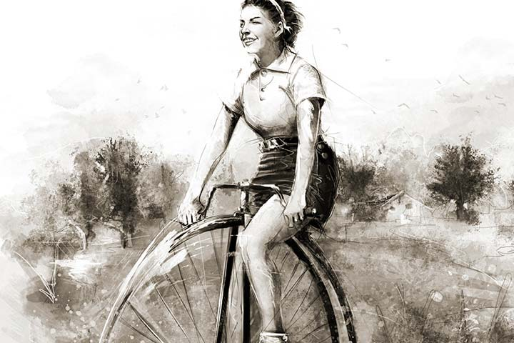 EnBiciArte. Woman on bicycle de Claudio Tosi