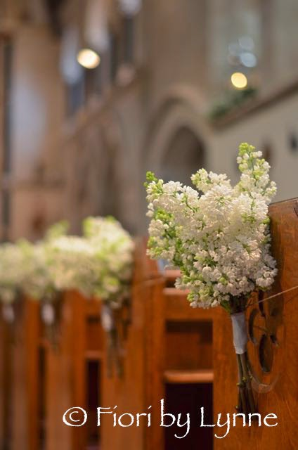 church pew ends of white lilac syringa simple tied bunches gorgeous for a spring wedding. Black Bedroom Furniture Sets. Home Design Ideas
