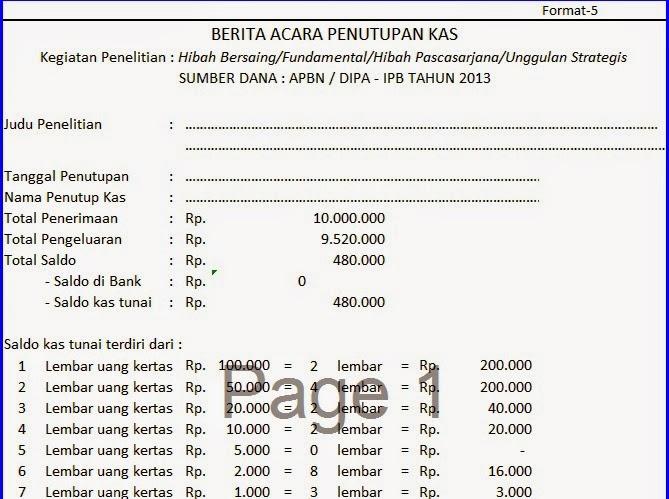 Contoh Laporan Keuangan format Excel