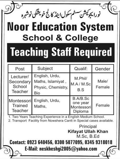 Noor Education System Jobs in Nowshera