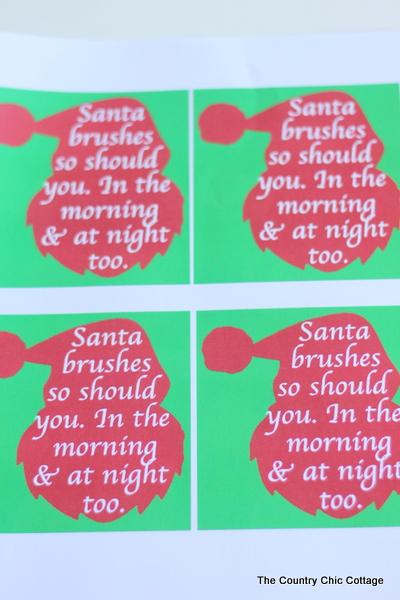 santa brushes printable tag