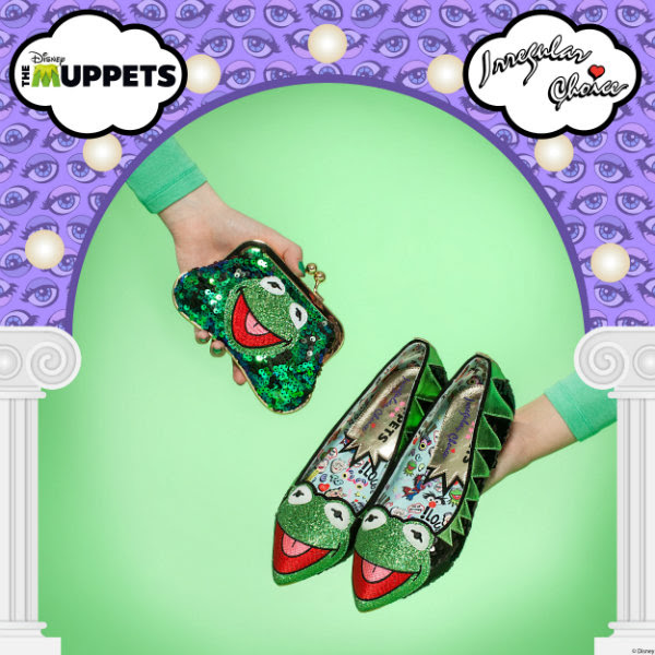Muppets Kermit sequins purse and shoes being held in promotional image