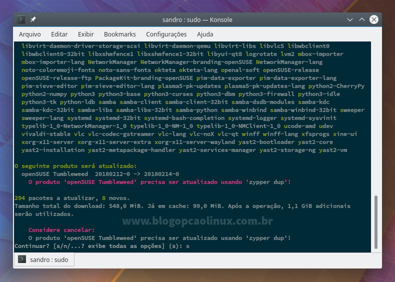 Atualizando o openSUSE pelo terminal com o zypper